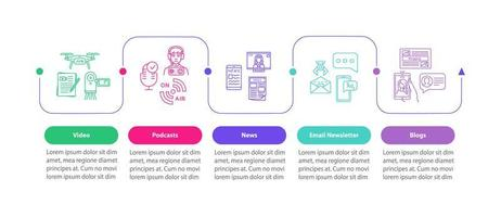 ferramentas de promoção do produto vetor modelo infográfico. elementos de design de apresentação de publicidade digital.