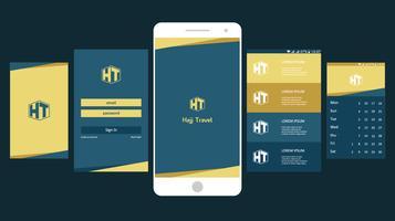 hajj travel mobile app gui vetor