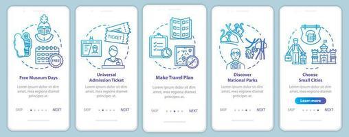excursões onboarding tela da página do aplicativo móvel com conceitos. galerias gratuitas. frequentando parques. vetor