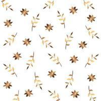 fundo de flores e ramos com folhas douradas vetor