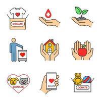 conjunto de ícones de cores de caridade vetor