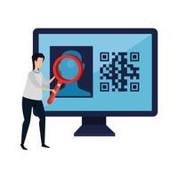 homem e computador com ícone isolado de código qr vetor