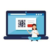 mulher e laptop com código qr vetor