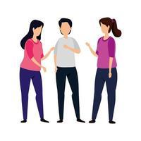 grupo de mulheres com personagem de avatar masculino