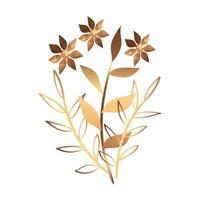 flor fofa dourada com ramos e folhas vetor