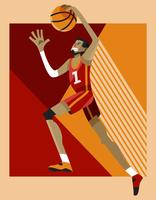 Exagerado Basketball Dunk Pose Player Vector