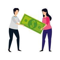 casal com ícone de dinheiro de conta isolado vetor