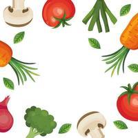 quadro de ícones de vegetais frescos vetor