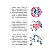 ícone de conceito de sistema imunológico e coração saudável com texto vetor