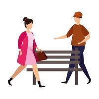 jovem casal com cadeira de madeira do parque