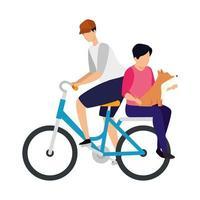 homens de bicicleta com personagem de avatar de cachorro