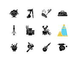 ferramentas de cozinha ícones de glifo preto definidos no espaço em branco vetor