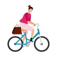 Mulher bonita no personagem de avatar de bicicleta