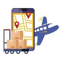 smartphone com serviço logístico de aplicativos e ícones vetor