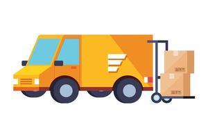 van de serviço de entrega com ícone de caixas isoladas