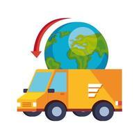 van de serviço de entrega com ícone de planeta isolado do mundo