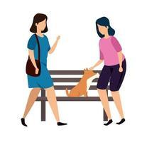 mulheres com cadeira de madeira de parque e cachorro