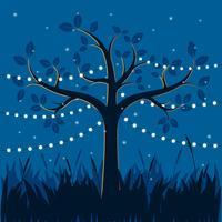 Árvore mágica com luzes decorativas para ilustração de festa vetor