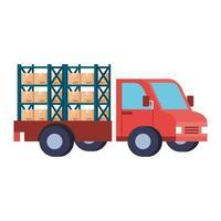 serviço de entrega com caminhão e caixas