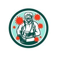 trabalhador médico coronavírus círculo retro vetor