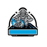 mascote da plataforma giratória de disc jockey futurista vetor