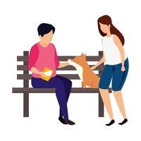 casal com cadeira de madeira do parque e cachorro