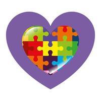 ícone de coração de peças de quebra-cabeça vetor