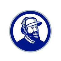 treinador com barba e fones de ouvido círculo retrô vetor