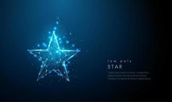 estrela azul abstrata. design de estilo low poly. vetor