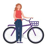 mulher bonita com personagem de avatar de bicicleta