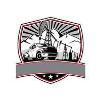 caminhonete e crachá retro do escudo da torre de petróleo vetor