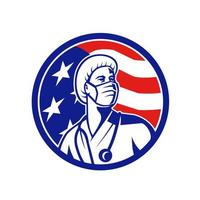 enfermeira americana olhando para o círculo da bandeira dos EUA
