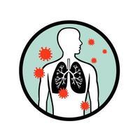 coronavírus infectando o círculo pulmonar humano retrô vetor