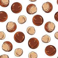 costura padrão de ilustrações vetoriais no conjunto de tema nutrição de macadâmia. objetos isolados realistas para seu projeto. vetor