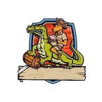 mascote canguru montando crocodilo