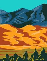 arte de pôster wpa do parque e reserva nacional de grandes dunas