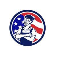 mulher trabalhadora de supermercado círculo da bandeira dos EUA retrô