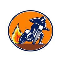 mascote oval de corrida de motocicleta