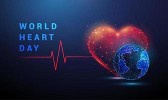 formato de coração com linha vermelha de pulso cardio e terra. vetor