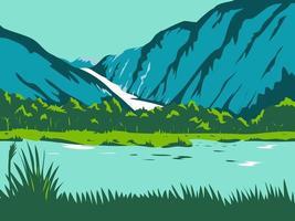 Fox Glacier e Franz Josef Glacier WPA vetor