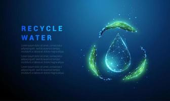 queda de gota d'água com símbolo de reciclagem de folhas verdes vetor