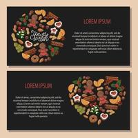 Vector ilustrações coloridas sobre o tema de tradições de natal, um conjunto de diferentes tipos de símbolos de natal e doces.