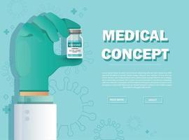 mão segurando o frasco da vacina. conceito de vacinação. cuidados de saúde e proteção. ilustração vetorial