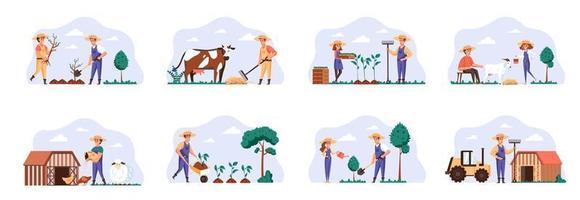 cenas de fazendeiros se agrupam com personagens de pessoas. vetor