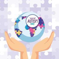 dia mundial do autismo e planeta mundial com as mãos vetor