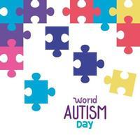 dia mundial do autismo com peças de quebra-cabeça vetor