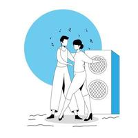 jovem casal dançando avatar personagem ícone vetor