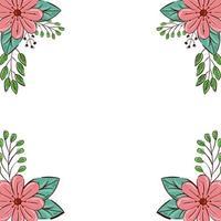moldura de flores de cor rosa com ramos e folhas naturais