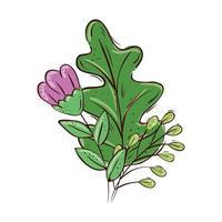 flor roxa fofa com ramos e folhas