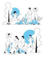 cenas de pessoas praticando exercícios